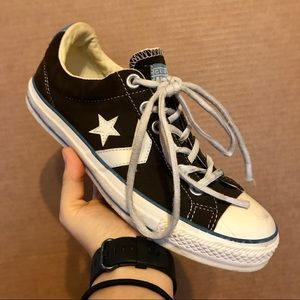 BROWN/WHITE CONVERSE ALL STAR LOW TOP SNEAKERS